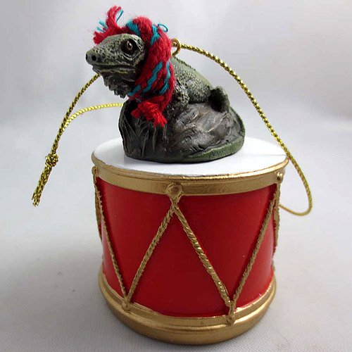 Little Drummer Iguana Christmas Ornament - Hand Painted - Delightful by Animal Den