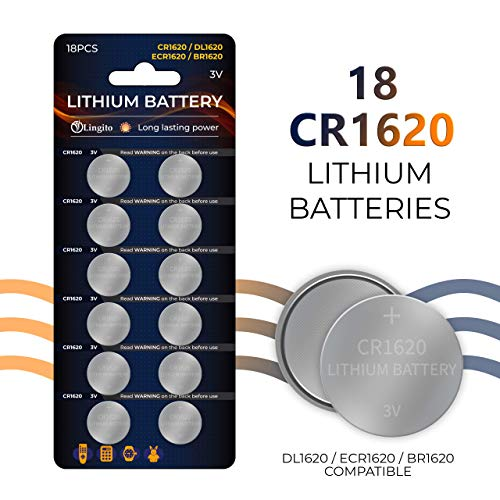 Pack of 18 Volt Button Cell Lithium Batteries   BR1620-1W, CR1620-1W, KCR1620, LM1620, 5009LC, L08 Batteries   Lightweight, High Voltage and High Energy Density  For Calculators, Toys, Watch and - Battery Pack 18