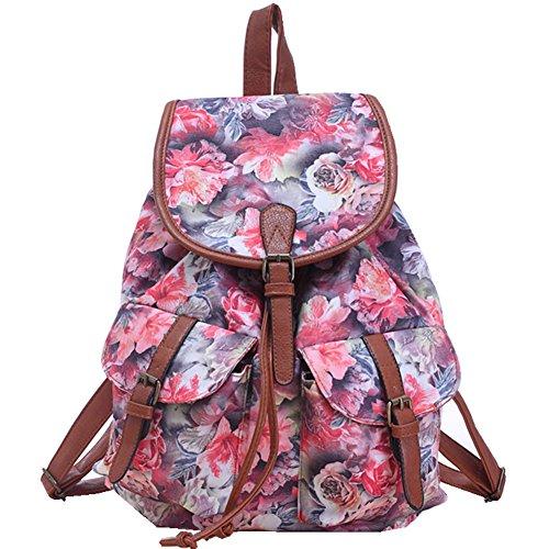 Erwaa Backpacks Canvas Bag Woman Casual Canvas Backpack Shoulder Vintage Travel Girls School Girls Rose Woman