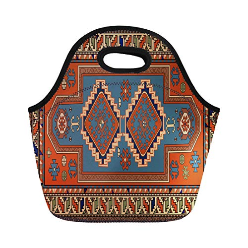 Semtomn Lunch Tote Bag Abstract Persian Carpet Tribal and Changing Colors Arabesque Border Reusable Neoprene Insulated Thermal Outdoor Picnic Lunchbox for Men Women