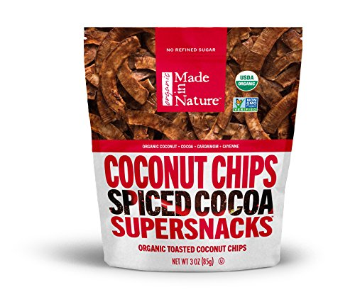 Made in Nature Toasted Coconut Chips, Mexican Spiced Cacao, A Mexican-Inspired Coconut Chip Made with Organic Cocoa, Cayenne, and Sea Salt, 3 Ounce (Pack of - Sea Mexican Salt