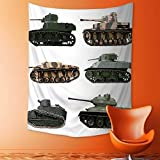 aolankaili Tapestry Wall Hanging Decor World War Armoured Tanks Camouflage Military Power Artillery Weapon Green White Home Hippie Bohemian Tapestry for Dorms
