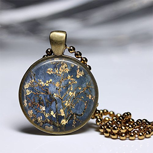 Almond Blossom Jewellery Necklace,Vincent Van Gogh Almond Blossom,Glass Round Brass Pendant,Art Photo Jewelry,Glass necklace,