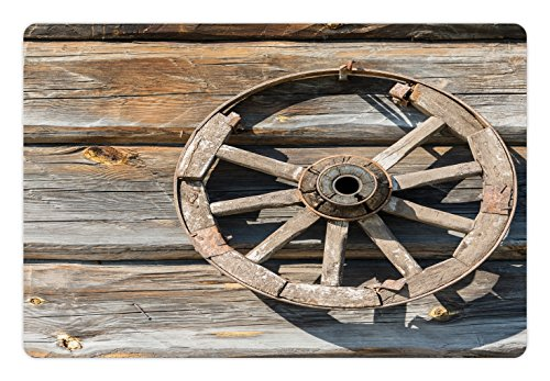 Cartwheels Wagons - Ambesonne Barn Wood Wagon Wheel Pet Mat for Food and Water, Old Log Wall with Cartwheel Telega Rural Countryside Themed Image, Rectangle Non-Slip Rubber Mat for Dogs and Cats, Umber Beige