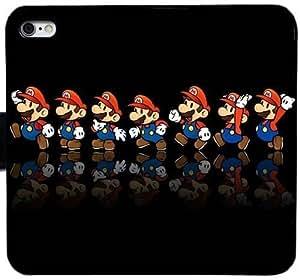 Generic Custom Flip Wallet Case,mario reflection mustache cap Leather Case for iPhone 6 6S 4.7 inch Black S-45127006