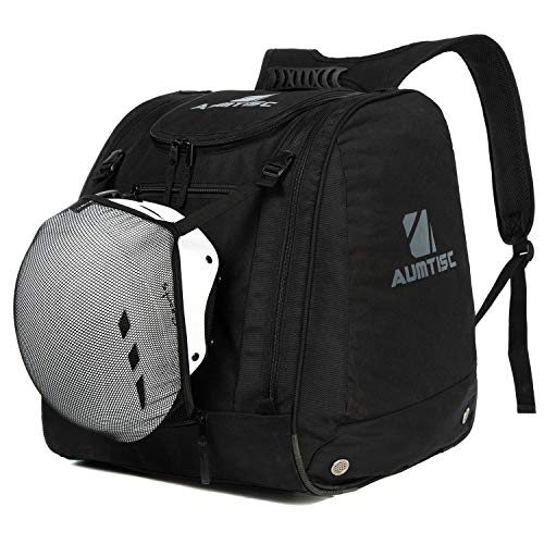 Aumtisc Ski Boot Bag Large Premium SIK Boot Backpack Hold Everything Including Jacket,Helmet,Goggles,Gloves & Accessories (Black)