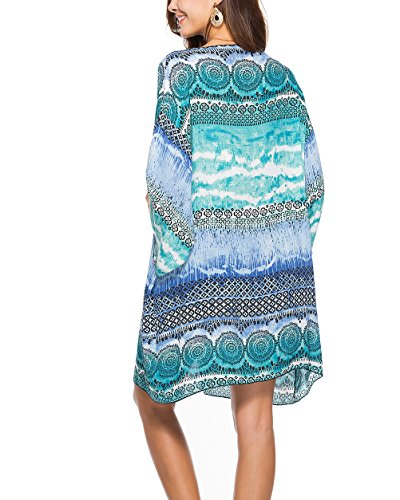Donna Camicetta Bohemian Estivo Women Kimono Lunghi Moda Giovane Spiaggia Lunga Vintage Sciolto Manica Top Etno Blu Copricostume Stampati style Mare Grazioso Eleganti Cardigan Ragazze ddYqwr
