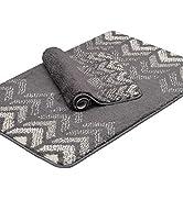 Feivea Set of 2 Bathroom Rug Mat Luxury Shaggy Plush Microfiber Bath Rugs Soft Machine Washable N...
