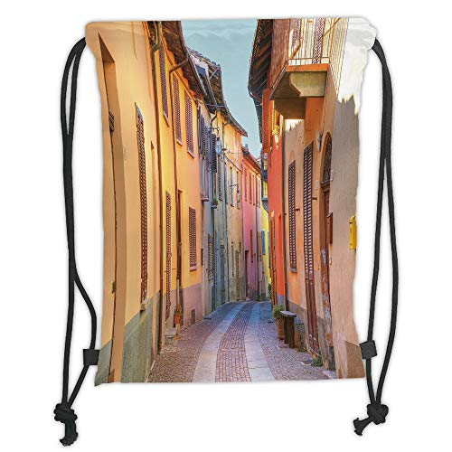 (Custom Printed Drawstring Sack Backpacks Bags,Italy,Narrow Paves Street Among Old Houses in Town Serralunga DAlba Piedmont Decorative,Pale Orange Brown Pink Soft Satin,5 Liter Capacity,Adjustable Stri )