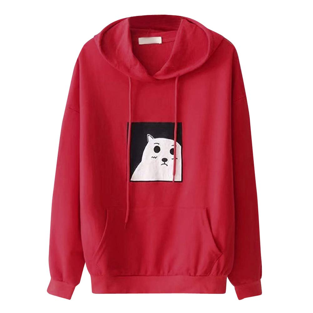 Bafaretk Womens Cat Printing Sweatshirt Hooded Pocket Tops Long Sleeve Casual Blouse