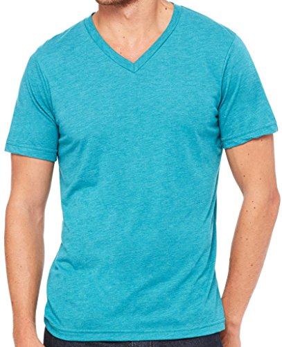 Yoga Clothing For You Mens Tri Blend V-Neck Tee Shirt, Medium Teal Triblend
