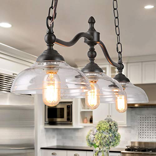 Log Barn Kitchen Fixture 3 Farmhouse Chandelier for Island Rustic Black Metal Finish with Clear Glass Shades, Vintage, Large Ceiling Hanging Pendant - Island Wide Chandelier