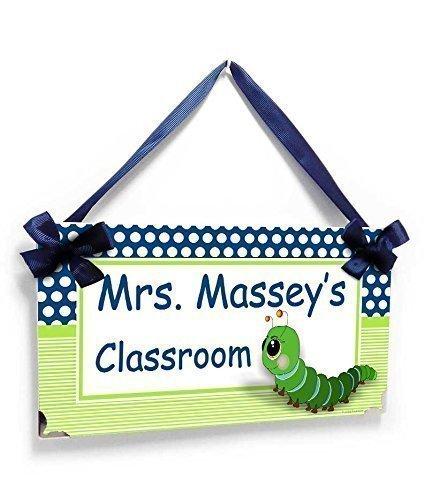 Teacher Personalized Caterpillar with White and Blue Dots and Lime (Caterpillar Dot)
