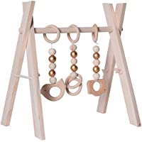 Wooden Baby Gym Frame Infant Wooden Stand Activity Center Hanging Bar Wooden Toy for Newborn Babies Over 3 Months Old