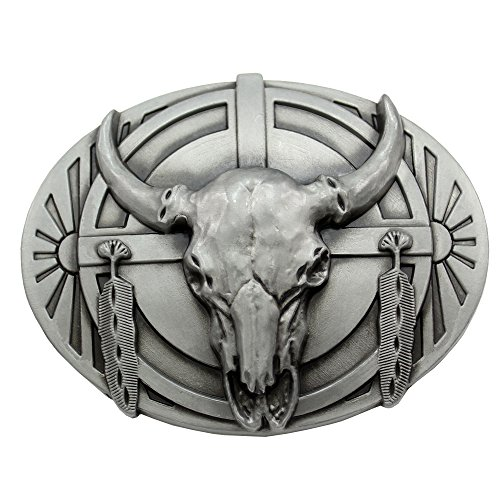 Vintage Silver Plated Q&Q Fashion? Indian Western Vintage Native Feather Cow Bull OX Horn Buffalo Skull Belt - Buckle Buffalo