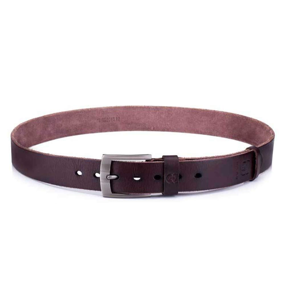 Color : Brown, Size : 125cm, Style : B Lydianzishangwu Mens Belt Crazy Horse Skin Cream Leather Leather Pin Buckle Thickening Youth Casual Belt