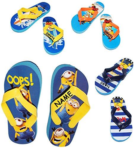 """Zehentrenner Sandalen - Gr. 33 / 34 - """" Minions - Ich einfach unverbesserlich """" - incl. Name - rutschfeste Schuhe Schuh / Badeschuhe mit Profilsohle - für Kinder - Jungen & Mädchen / Hausschuhe Garten"""