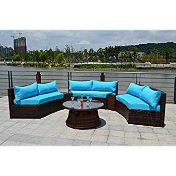 Amazon Com Curved Outdoor Wicker Rattan Patio Furniture