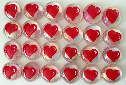Jazzy Glass Gems, Hand Painted Set of 24, Party Favor, Decoration, Mosaic Tile, Crafts etc., Red Hearts from Jazzy Glass Gems