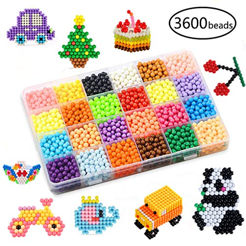 KACAGA Water Fuse Beads Kit 24 Colors 3600 Beads, Refill kit Compatible Beados Magic Water Sticky Beads Art Crafts Toys for Kids Beginners (3600+ Beads Complete Set) -