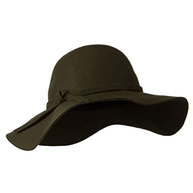 Wide Flat Brim Wool Felt Hat - Olive OSFM at Amazon Women s Clothing ... 15f5ac41366