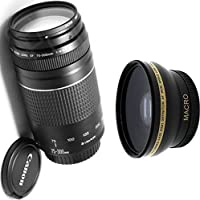Canon 75-300mm III Zoom Lens + High Definition Wide Angle Auxiliary Lens
