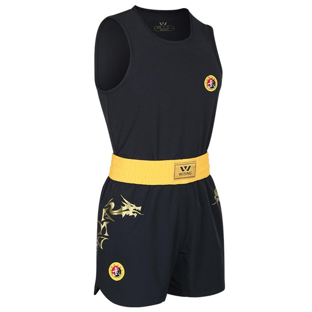 wesing Wushu Sanda Suit Sanshou Uniform competetion and Training Dragon Print Sanda Set iwuf Approved