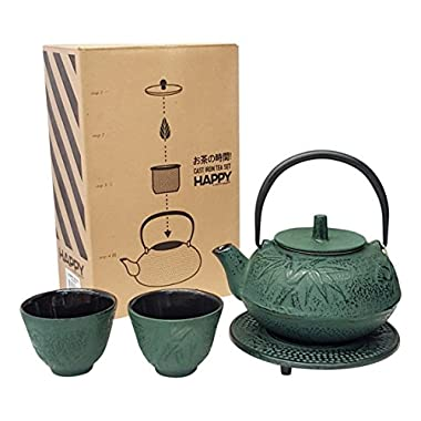 Happy Sales HSCT-BMG04, Cast Iron Tea Pot Tea Set Bamboo Green