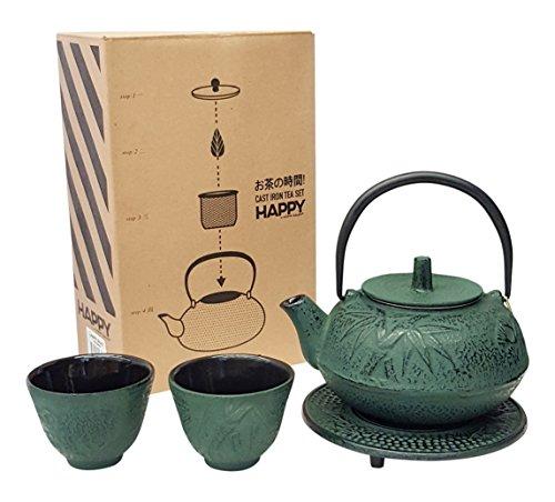 (Happy Sales HSCT-BMG04, Cast Iron Tea Pot Tea Set Green Bamboo)