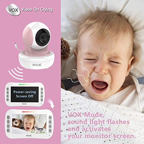 Video Baby Monitor with Remote-Controlled Camera and Clear Large Screen, Two Way Talk, Long Range Connection, No WiFi Needed, Caring for Elder, Home Security Protect by Axvue, Pink, Model E9650-P
