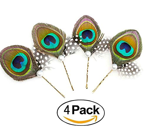 Price comparison product image Set Of 4 Super Cute Peacock Feather Brass Bobby Pins, Handmade Hair Clips, Wedding Gift