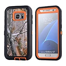 For Galaxy S7 Case, JOBSS [CAMO SERIES] [Heavy Duty] Hybrid Impact Defender Full Body Shockproof Hard Case Cover Shell Built-in Screen Protector For Samsung Galaxy S7 S VII G930 GS7 All Carriers Orange