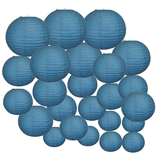Just-Artifacts-Decorative-Round-Chinese-Paper-Lanterns-24pcs-Assorted-Sizes-Color-Dark-Blue