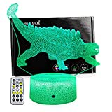 LLAMEVOL Dinosaur Toy Night Lights for Kids Jurassic 3D Illusion Lamp Timer Remote Control Birthday Dino for Boys Girls Home Bedroom Party Supply Decoration 7 Color Crackle Ankylosaurus