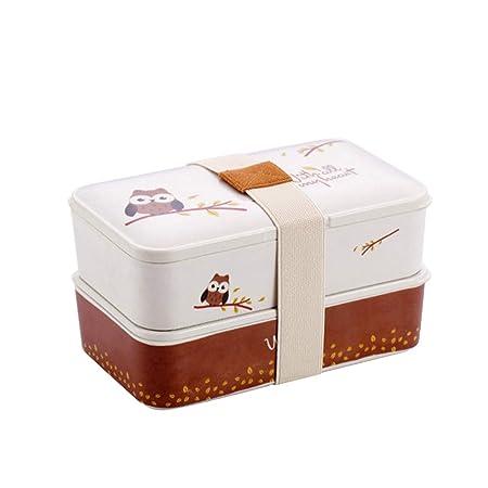 Bento Box 2 Tiers Fiambreras con cubiertos reutilizables de estilo ...