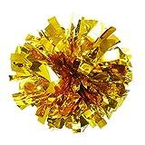 Set of 2 Metallic Foil & Plastic Ring Pom Poms Cheerleading Pom Gold