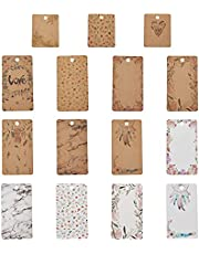 Fashewelry 150Pcs Mixed Kraft Paper Earring Display Hanging Card Holders Brown White Printed Rectangle Jewelry Display Tags for Earrings Ear Studs