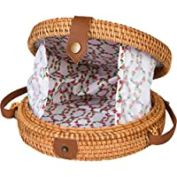 Handwoven Round Rattan Bag for...