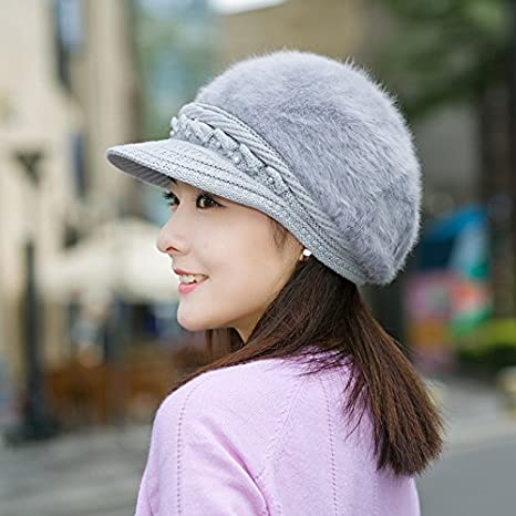 2bceaf92bff Amazon.com  GAOQIANGFENG Rabbit hair hat female Winter Hat mom fashion fur  hats and cashmere fluff peaked cap hat old old woman