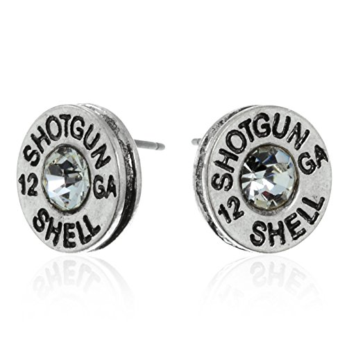 PammyJ Silvertone Simulated Bullet Shotgun Shell 12 GA Post Earrings by PammyJ Necklace (Image #1)