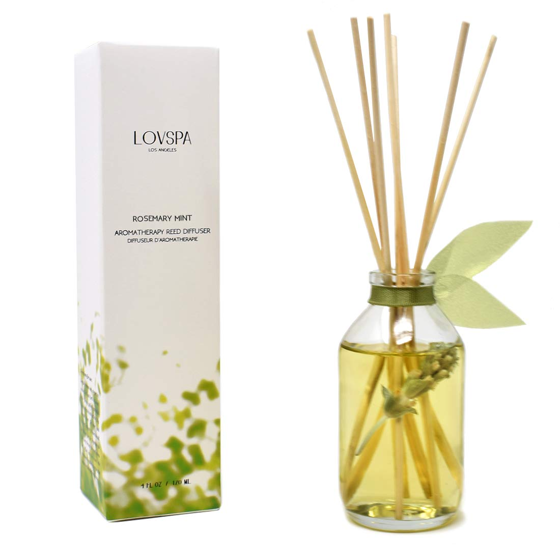 LOVSPA Rosemary Mint Herbal Deluxe Reed Diffuser Oil Set Room Freshener - Relaxing Scent – Rosemary, Spearmint, Sandalwood, Amber and Earthy Patchouli - Made with Real Botanicals and Essential Oils