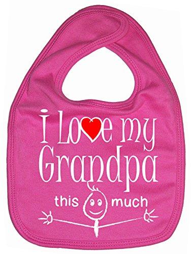 (Dirty Fingers, I love my Grandpa this much, Baby Unisex Bib, Fuchsia )