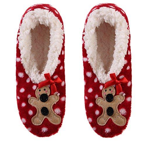 Dosoni Women Girl Super Soft 3D Santa Design Novelty Christmas Gift Fuzzy Winter Slippers Bow Bear Dot Red