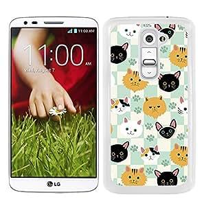 Funda carcasa para LG G2 estampado gato gatos fondo cuadros borde blanco