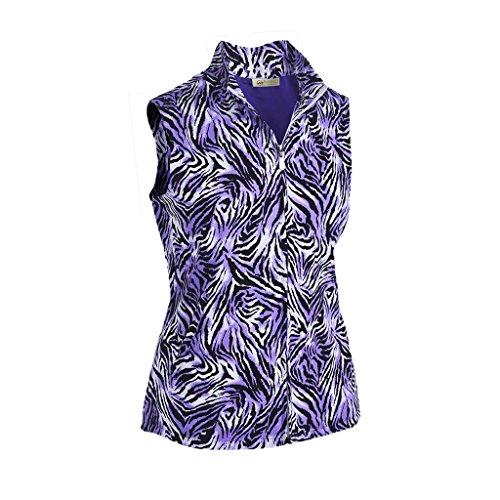 Monterey Club Ladies Print Plaid Vest #2796 (True Violet/Black, X-Large)