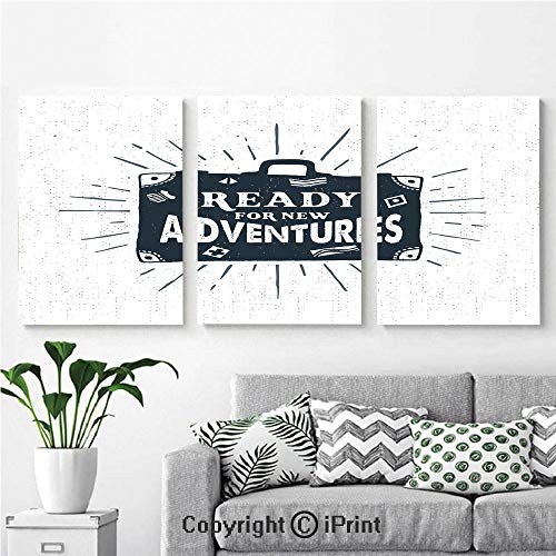 Canvas Prints Modern Art Framed Wall Mural Ready for New Adventures Briefcase Traveling Journey Themed Design Work of Art Print Decorative for Home Decor 3 Panels,Wall Decorations for Living Room Be ()
