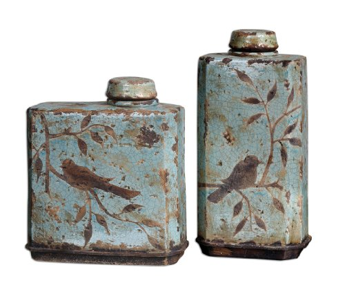 Uttermost Freya Light Sky Blue Containers, Set/2 with Distressed, Crackled Light Sky Blue Ceramic by Uttermost