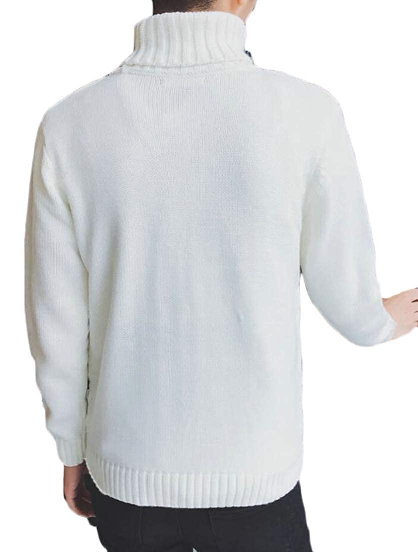 Alion Mens Thick High Neck Warm Knitwear Knitted Solid Winter Pullover Sweaters