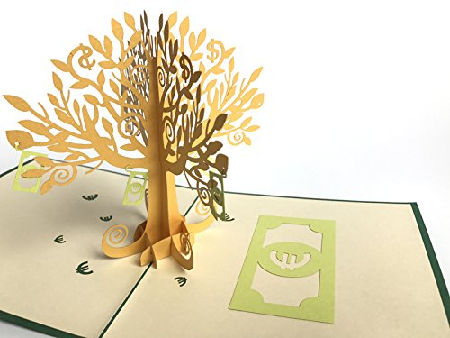 Money Tree Euro Sterling Dollar Many Rose Handmade Creative Kirigami & Origami 3D Pop UP Greeting & Gift Cards Thank You Cards