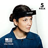 Dynatomy Face Shields 5-pack, Made in USA, Full Coverage PPE by D'Addario (DFSM-1-5) (Tamaño: 5-Pack)